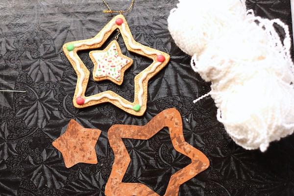 cardboard stars painted and stippled