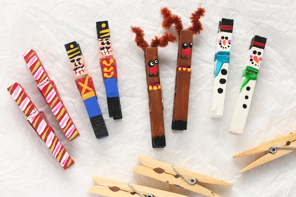 Painted Clothespin Christmas Ornaments on white background