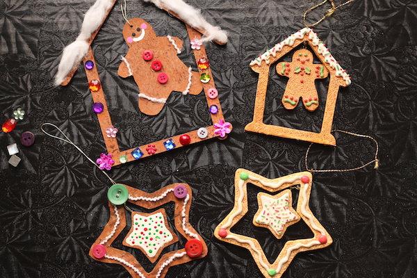 homemade gingerbread ornaments beside storebought