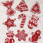 red and white cardboard ornaments