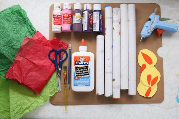 tissue paper, paint, glue, cardboard rolls, cardboard, glue gun
