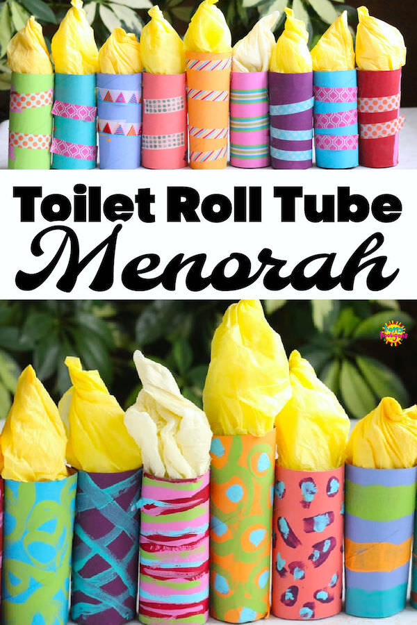 toilet paper roll menorahs washi tape and paint