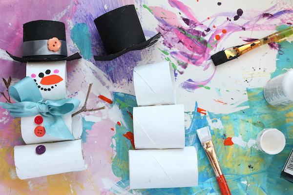 assembling tp roll snowman sections