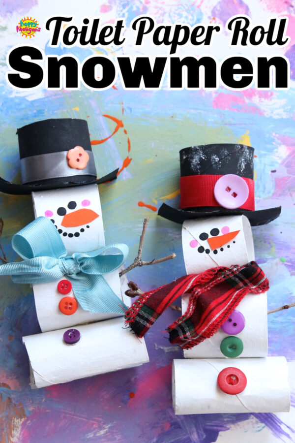 stacked toilet roll snowman craft